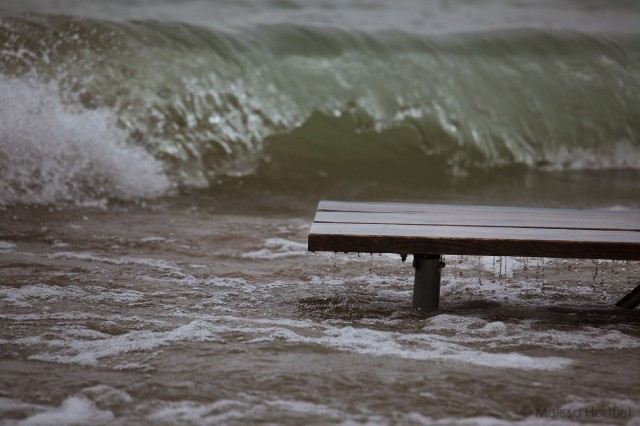 picnic table in the lake