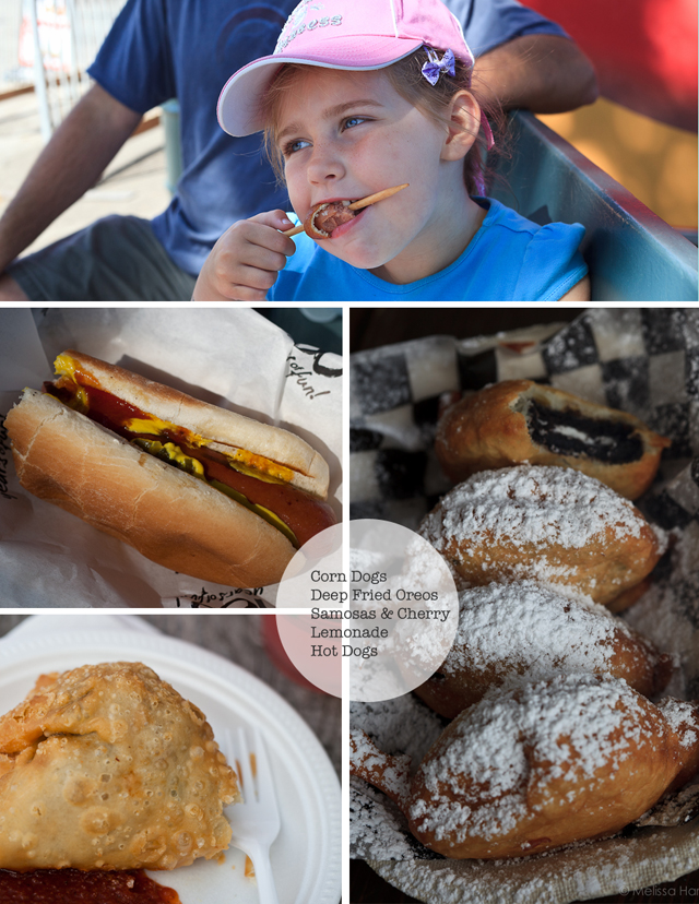 corndogs, deep fried oreos, samosas and hotdogs