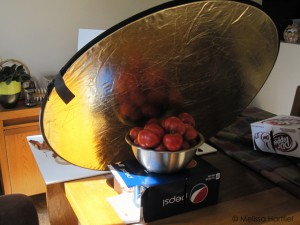 reflector held up by cases of pop and tomatoes