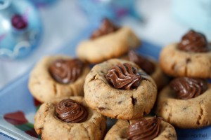 Closeup of Chocolate Nutella Thumbpring cookies