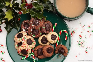 thumbprint cookies in the snow