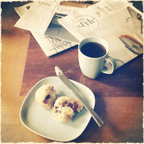 Morning coffee and newspapers