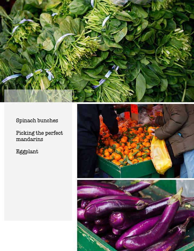 Spinach, mandarin oranges, eggplant