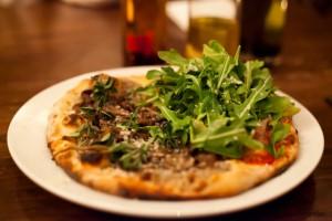 Prosciutto e Rucola and Funghi Pizza
