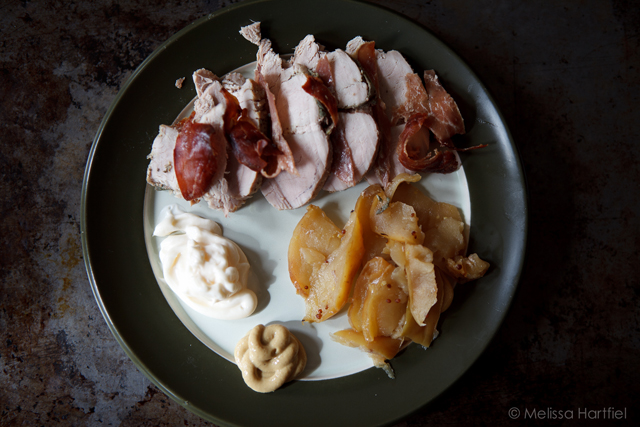 pork, prosciutto, apples, dijon mustart and mayo