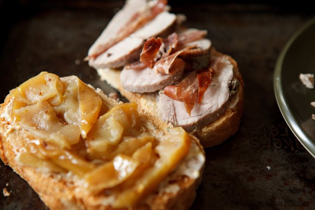 apples, pork and bread