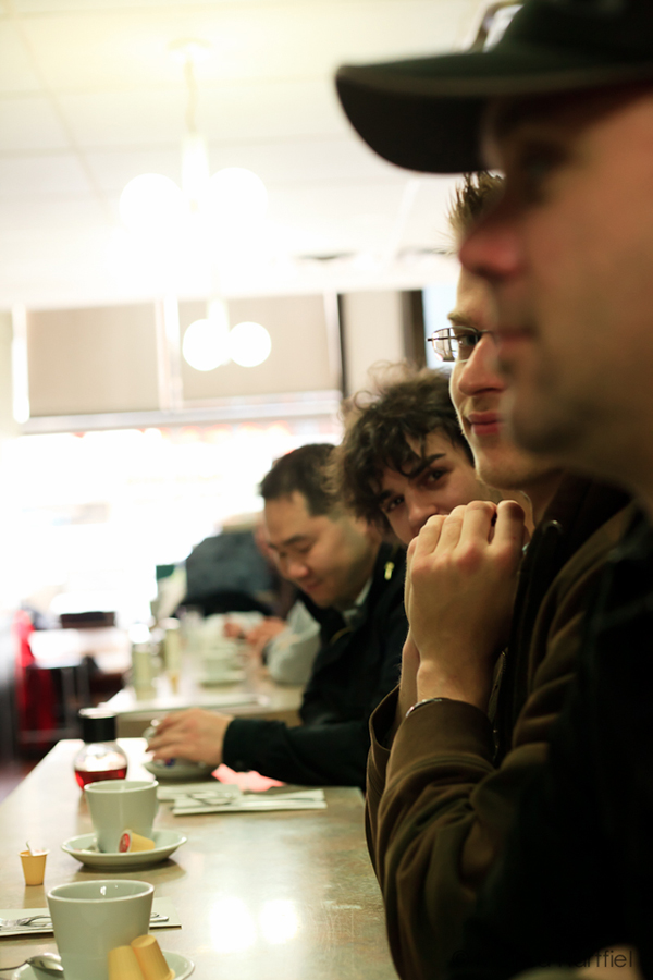 Sitting at a diner counter