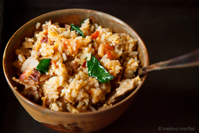 rice with pork, tomatoes, egg, prosciutto and spinach