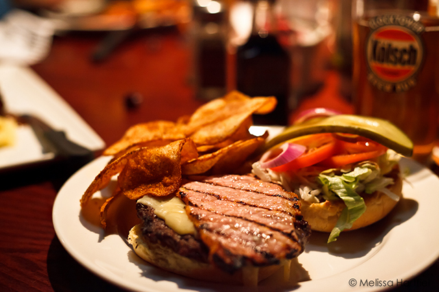 open faced burger with chips
