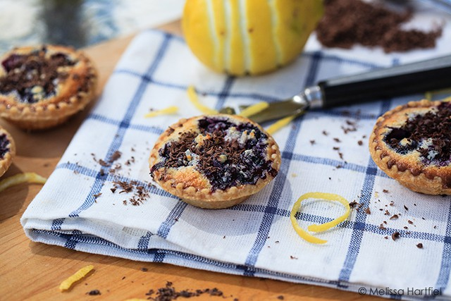 blueberry coconut tarts with lemon zest and chocolate shavings