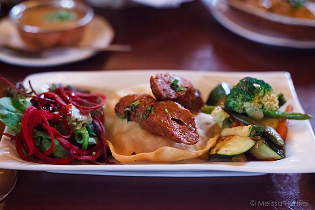 mixed greens, seekh kebab, mixed vegetables