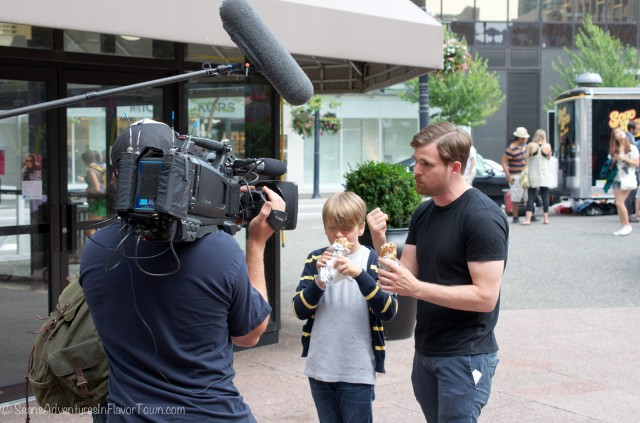 Chef Dale McKay with his son Ayden filming