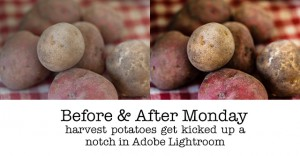 before & after potatoes in lightroom