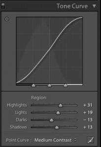 adjusting the tone curve sliders