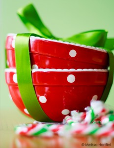 Christmas bowls and candy canes