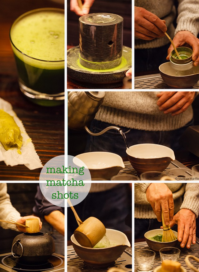 making matcha shots