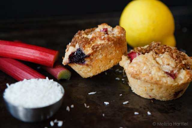 Lemon Rhubarb Blueberry Muffins | eyesbiggerthanmystomach.com