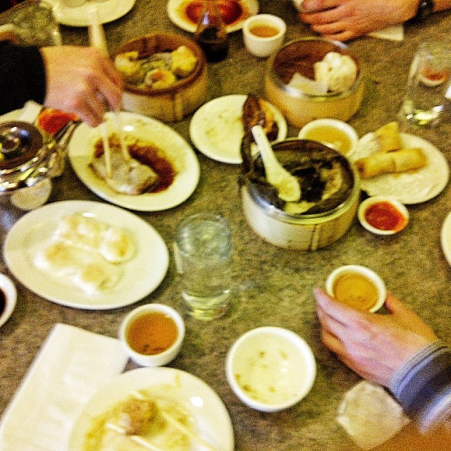 Overhead photo of a Dim Sum lunch