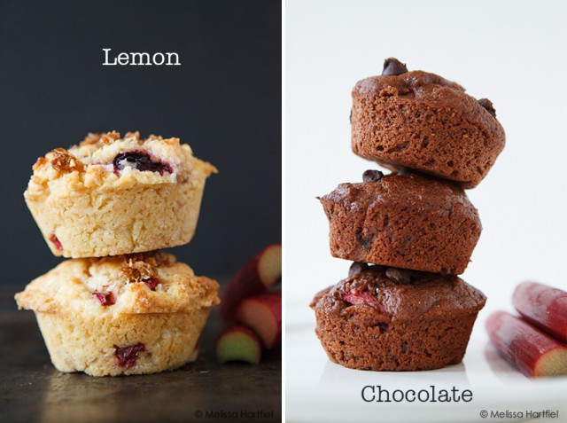 Rhubarb muffins in lemon or chocolate | eyesbiggerthanmystomach.com