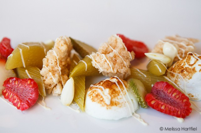 Braised Rhubarb with white chocolate meringue, ginger infused green strawberries, ginger, green almonds and Rice Krispie crumble