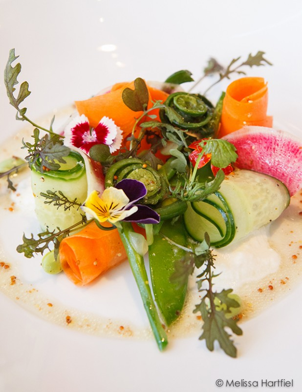 spring salad with fiddleheads, carrots, peas and more