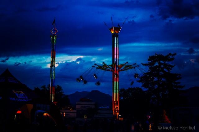 amusement park rides at the PNE at night