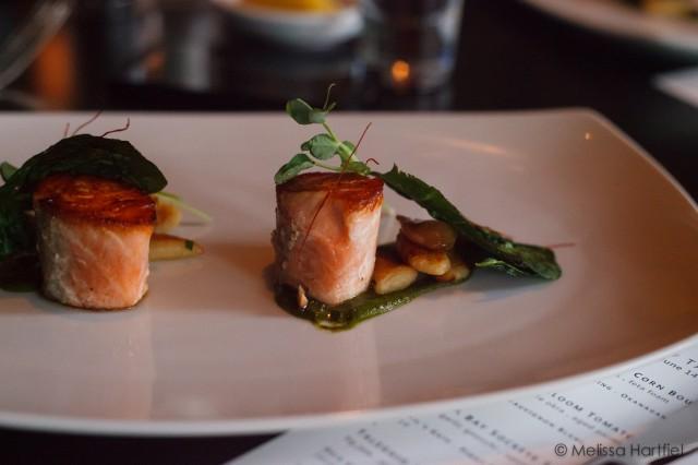skuna bay sockeye salmon with sweet garlic gnocchi