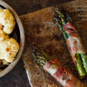 Lemon Roasted Bacon Asparagus with Roasted Caulilower | Eyes Bigger Than My Stomach