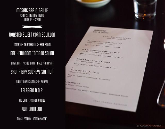 mosaic chef's tasting menu