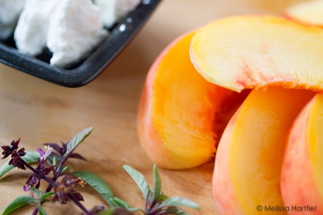 peaches, feta and basil
