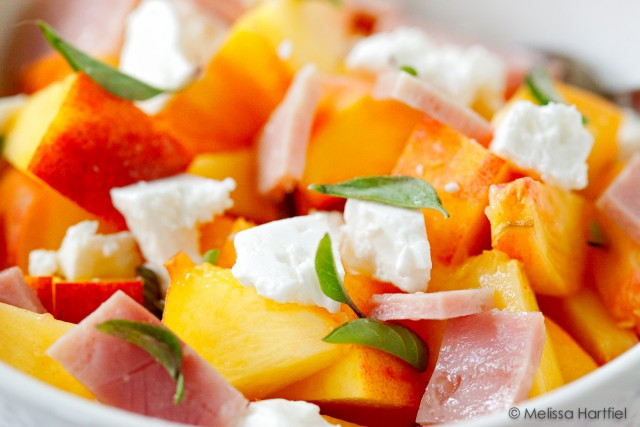 peach, feta and ham salad | eyes bigger than my stomach