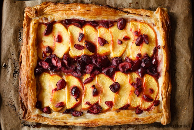 Rustic Peach and Cherry Honey Tart