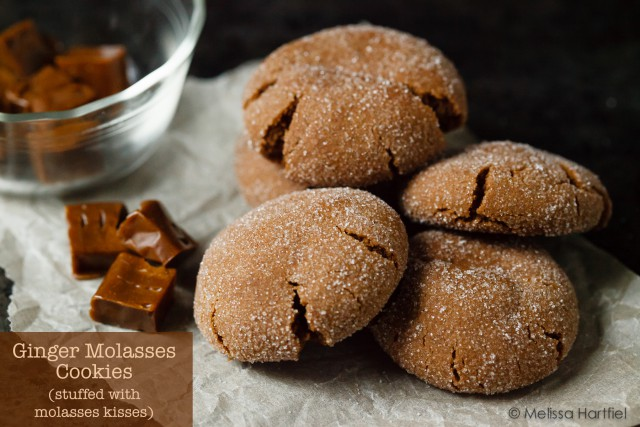 Ginger Molasses Cookies Stuffed With Molasses Kisses