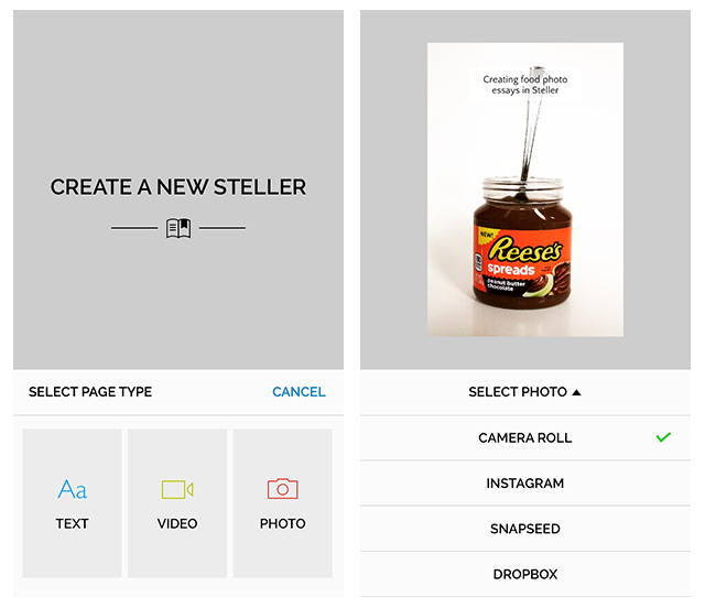 Creating Food Photo Essays in Steller