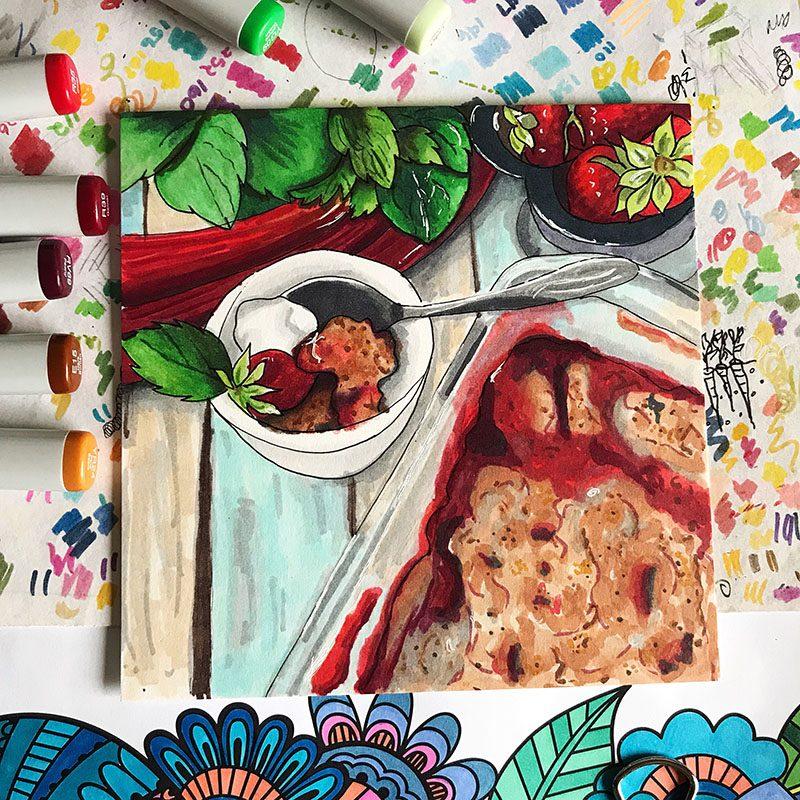 Rhubarb Crisp Illustration